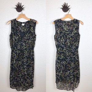 MERONA | sheer black floral midi dress, medium
